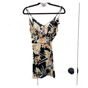 Black tropical print wrap dress cotton candy sm